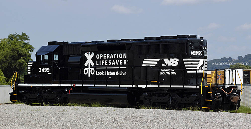 Norfolk Southern SD40 2s 3499 3503 Wearing New OLS Paint Were Shot In  Chattanooga TN Late